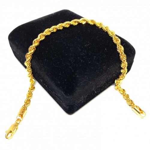 20 cm Pullu-Arpa, Burgu-Halat Zincir Altın Bileklik - KB0041