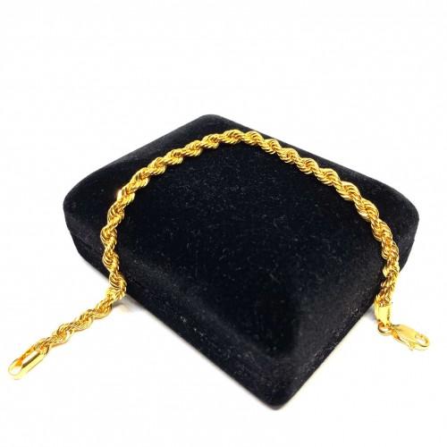 19 cm Pullu-Arpa, Burgu-Halat Zincir Altın Bileklik - KB0043