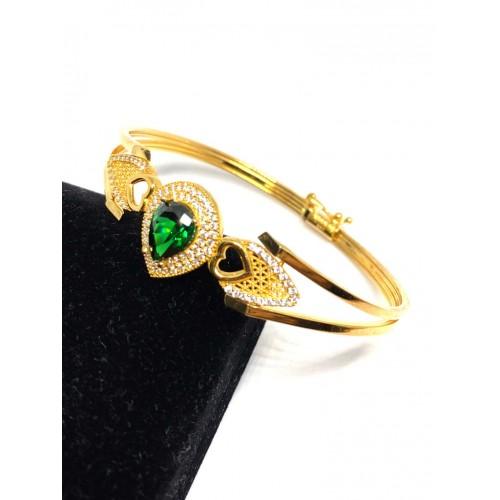Zümrüt Yeşili Damla 8 Ayar Kelepçe Altın Bileklik - KB0092