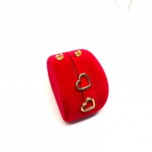 Altın 14 Ayar Kalp Küpe - TK0052
