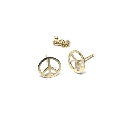 Barış İşaretli Altın Küpe